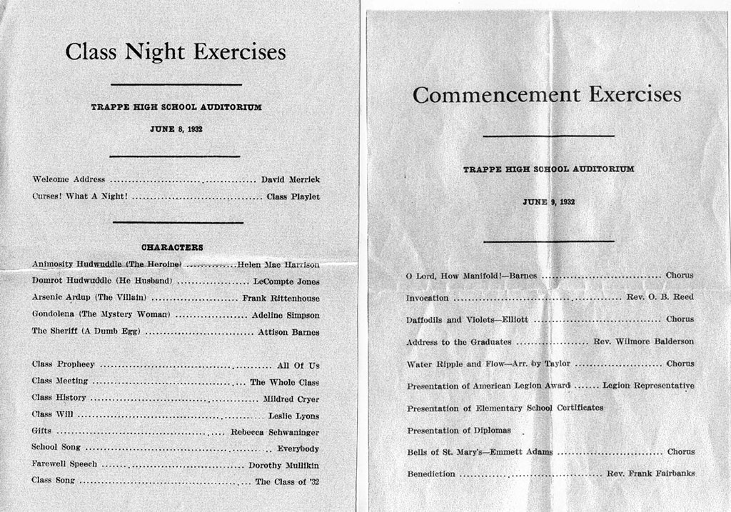 High School Graduation Programs Class Of 1932