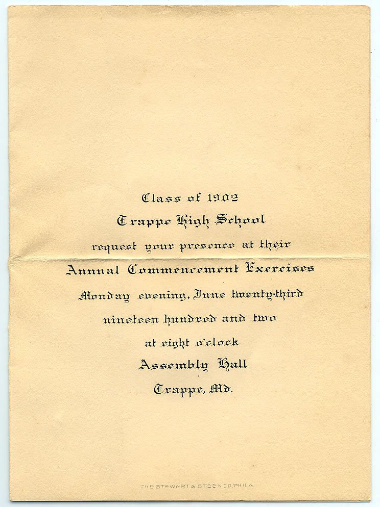 Trappe High School Class of 1902 Commencement Invitation